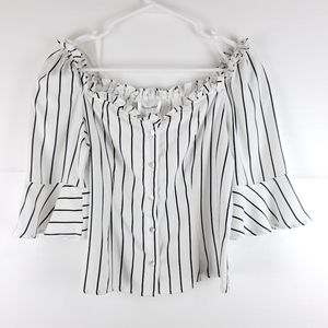 NWT Line & Dot Elisa Striped Top Size Medium